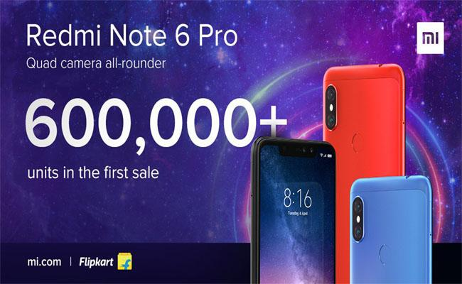 Over 6 lakh Redmi Note 6 Pro Units Sold in First Sale - Sakshi