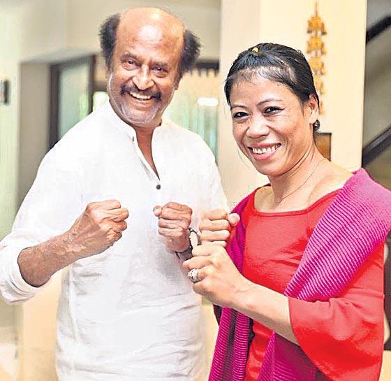superstar Rajinikanth met the boxing queen Mary Kom - Sakshi