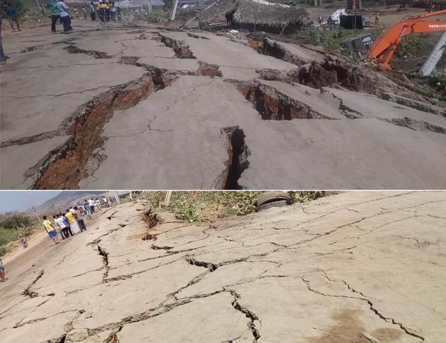 Huge Cracks On Polavaram Project Road - Sakshi