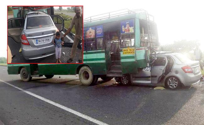 Three Died In Car Accident Tamil Nadu - Sakshi