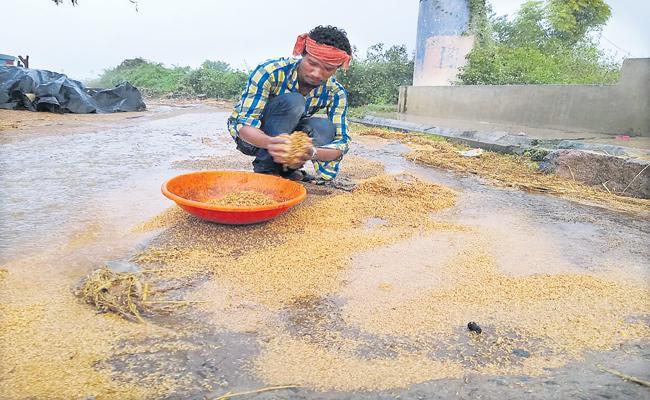 Heavy rain in Karimnagar and Adilabad districts - Sakshi
