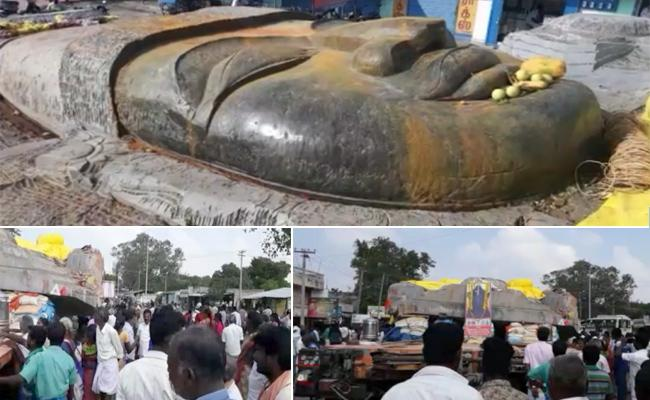Big Statue Of Mahavishnuvu Stopped in Tamilnadu - Sakshi
