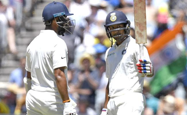 Mayank Agarwal Gets Fifty on His Debut Test - Sakshi