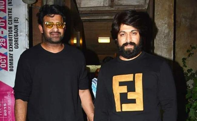 KGF Star Yash Spotted With Young Rebal Star Prabhas - Sakshi