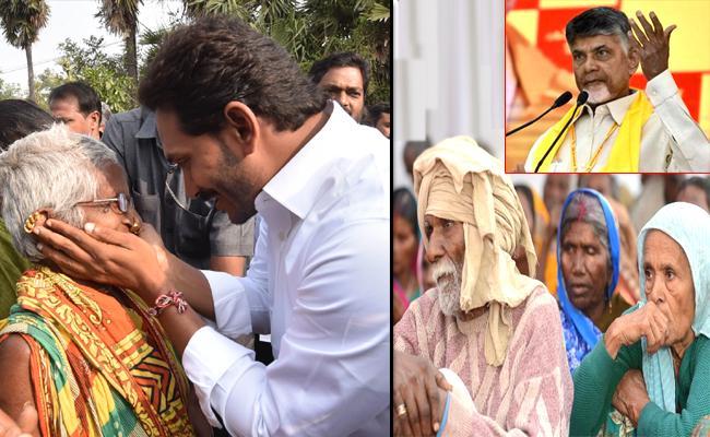 Chandrababu Naidu Announces Double The Pensions With Effect Of YS Jagan Padayatra - Sakshi