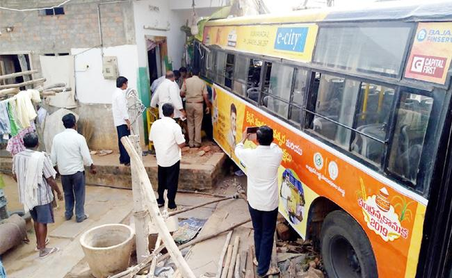 RTC Bus Roll Over in House Krishna - Sakshi
