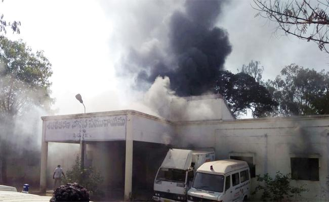 Fire Accident in Vaccine Godown - Sakshi