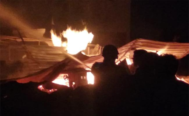 Fire Accident in Shops Anantapur Madakasira - Sakshi