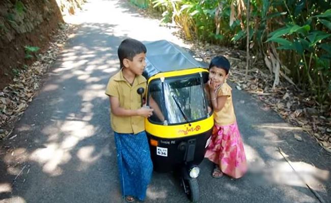 Kerala Man Creativity Makes Fully Functional Mini Auto For His Children - Sakshi