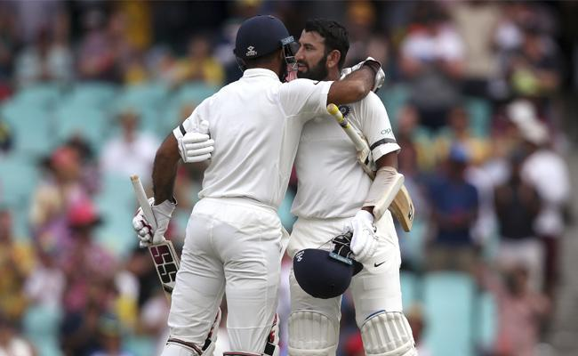 Pujara Hundred Drives India past 300 - Sakshi