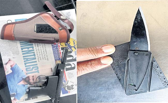 Guns And Knife Find in Hyderabad Metro Train passengers - Sakshi