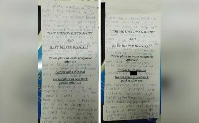 Netizens Searching For Girl Who Wrote Love Letter On Flight Sick Bag - Sakshi