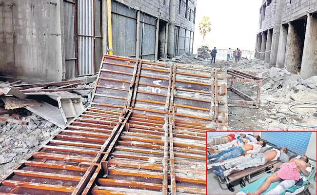 Five Workers Died After Govt Double Bedroom Construction Collapse At Keesara - Sakshi