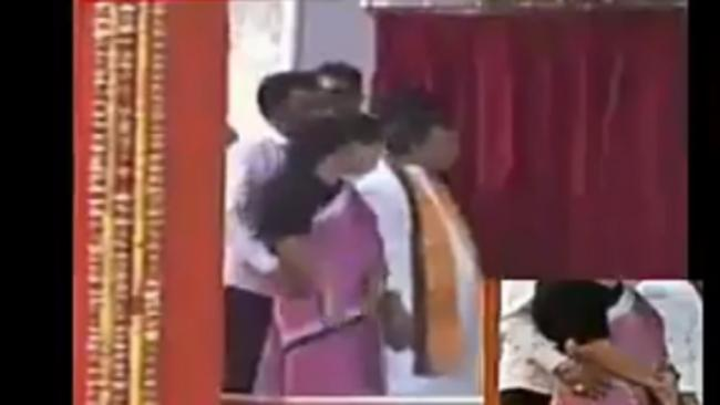 In Front Of Narendra Modi Tripura Minister Groping Woman Colleague on Stage - Sakshi