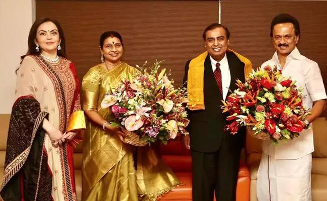 Mukesh Ambani Invite MK Stalin To Son Akash Wedding - Sakshi