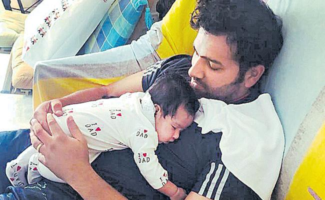 Rohit Sharma Posts A Picture With His Baby Girl Samaira Wearing A Cute I Heart Daddy Onesie - Sakshi