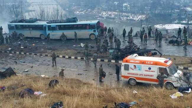 Video Captures Horror of Jaish Terrorists Attack CRPF Convoy - Sakshi
