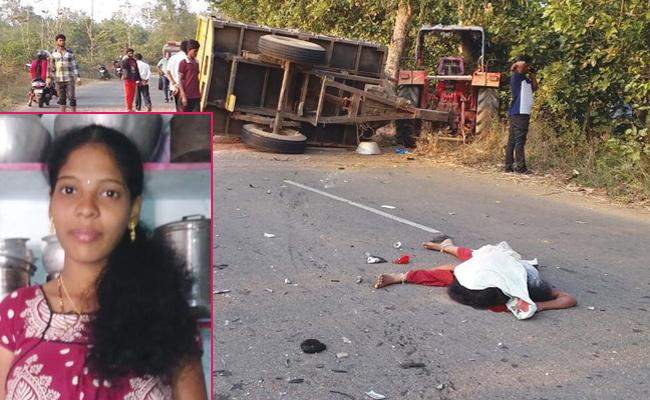 Women Died in Bike And Tractor Accident - Sakshi