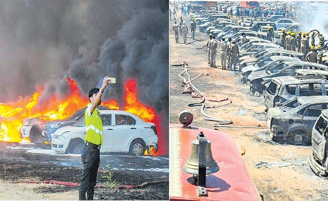 300 cars gutted in fire near venue of Aero India show display suspended - Sakshi