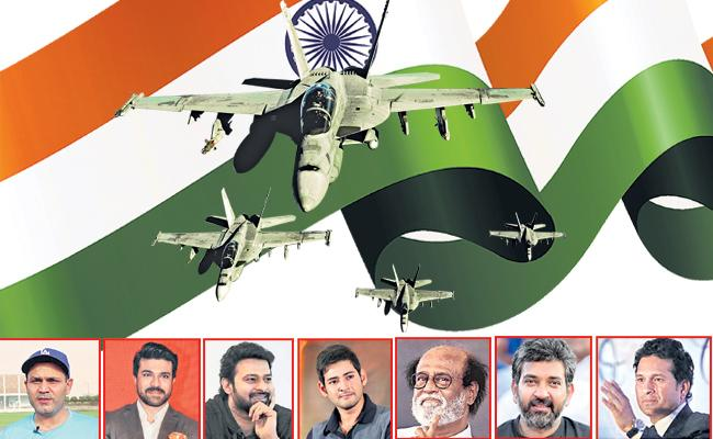 indian celebrities tweet about indian army surgical strikes - Sakshi