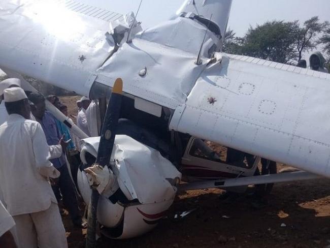 Trainee aircraft Crashes  Near Indapur Pune - Sakshi