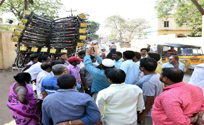 Bicycle For Voters In Nellure - Sakshi