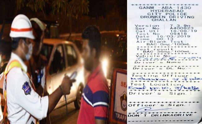 Police Case File Against Asking  Drunk And Drive Test Slip - Sakshi