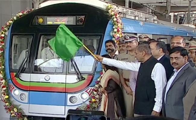Today Metro Train Services Starts From Ameerpet to Hitech City - Sakshi