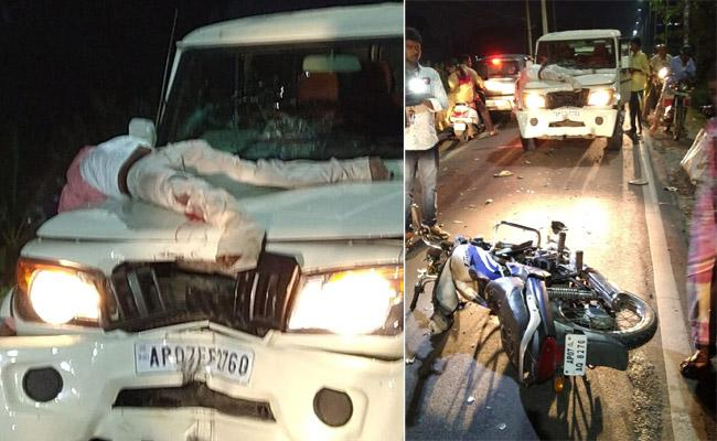 Bike Accident At Near To Chandrababu Home In Amravati - Sakshi