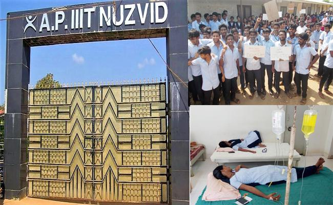 IIIT Campus Students Are Hospitalized By  Inferior Meals In Nuzvid - Sakshi