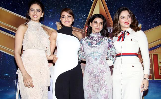 Tollywood Top Heroines at Captain Marvel Promotions - Sakshi
