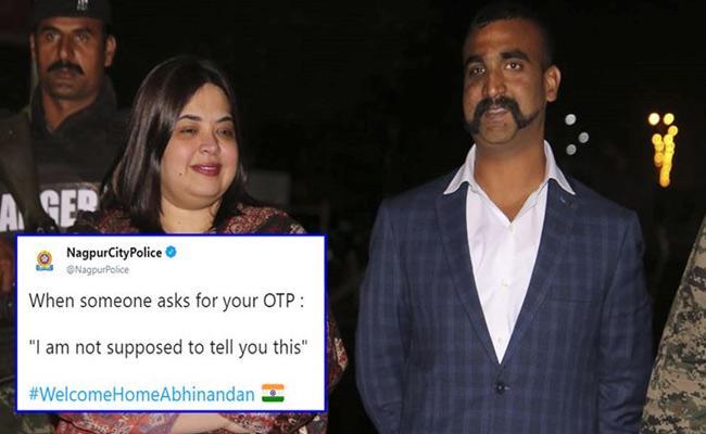 Nagpur Police Uses Abhinandan Dialogue To OTP Frauds - Sakshi