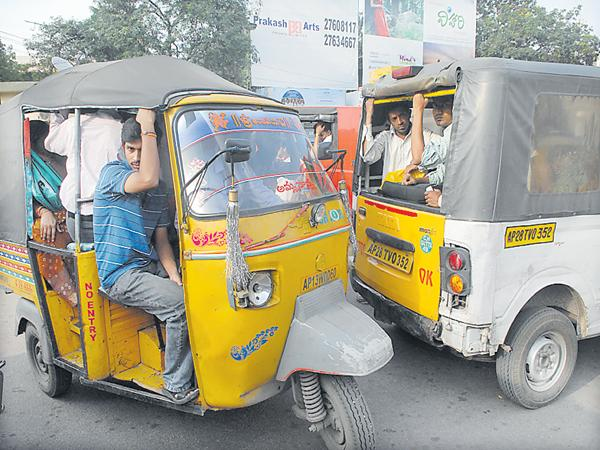 RTC Staff Merged with auto drivers - Sakshi