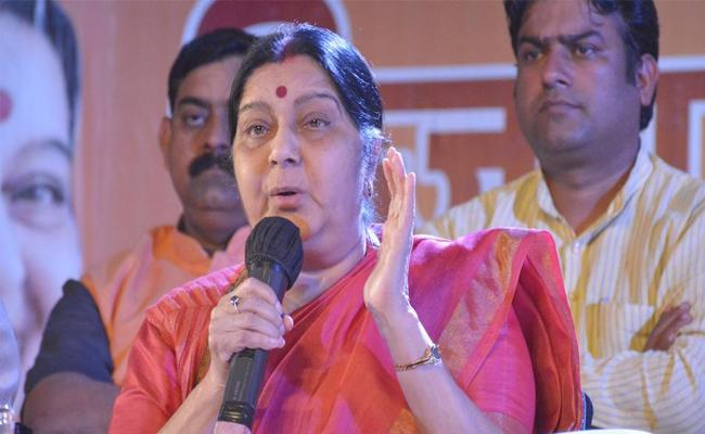 Sushma Swaraj Said It's Me Not My Ghost Replying To Twitterer Question - Sakshi