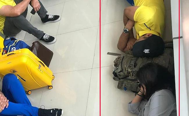 MS Dhoni and Sakshi Napping On Airport Floor