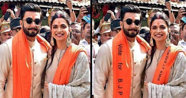 Ranveer Singh And Deepika Padukone Really Campain For BJP - Sakshi