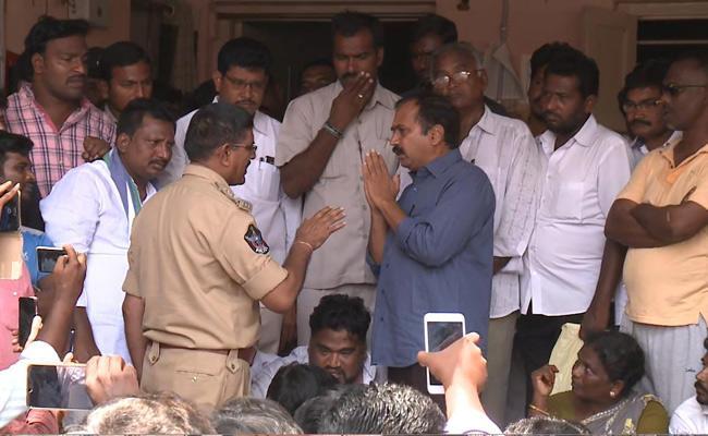 MLA Alla Rama Krishna Protest At Police Station - Sakshi
