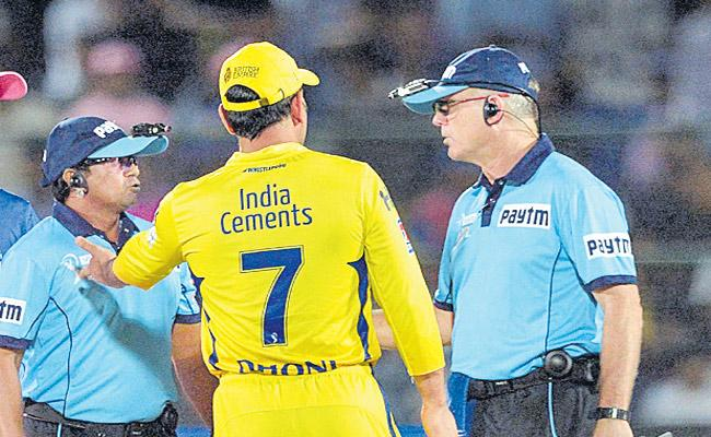 MS Dhoni for Barging into the Field over no ball Controversy - Sakshi