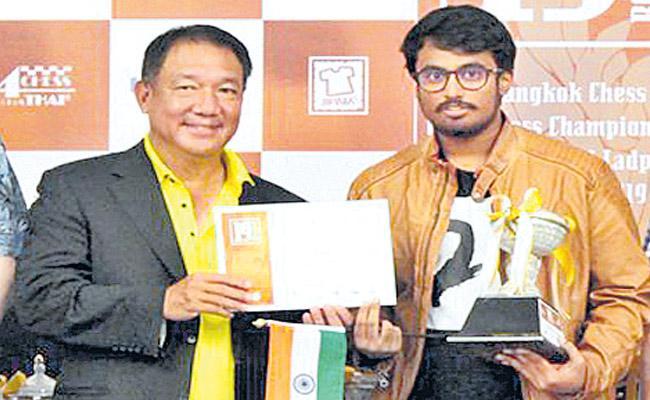 Karthik Venkatraman of the International Chess Tournament earned third place - Sakshi