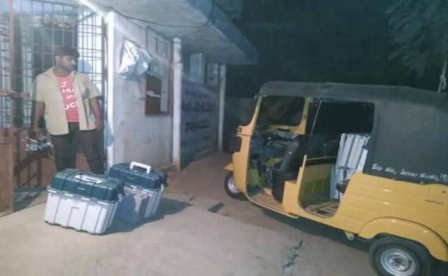 EVMs Transported By Auto In Jagtial At Night Time - Sakshi