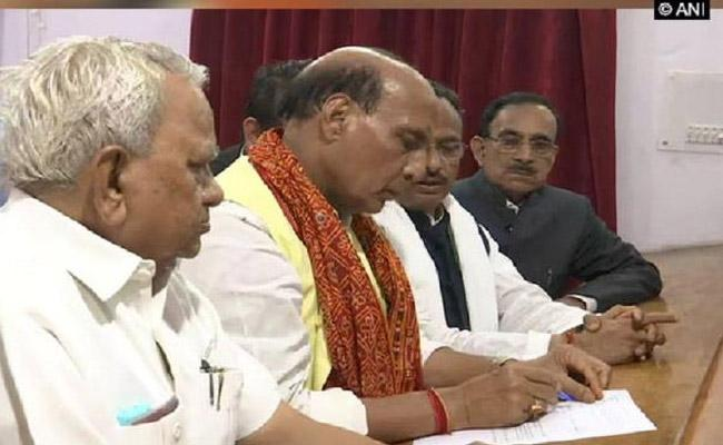 Rajnath Singh files Nomination for Lucknow Lok Sabha seat  - Sakshi