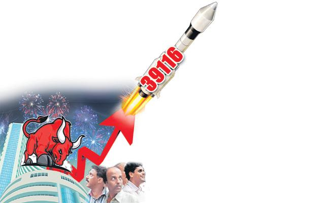 Sensex hits Mount 39K  14 of 30 stocks rose up to 18 percent since previous index high - Sakshi