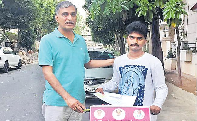 Boy pedals from Mulugu to Hyderabad to meet Harish Rao - Sakshi