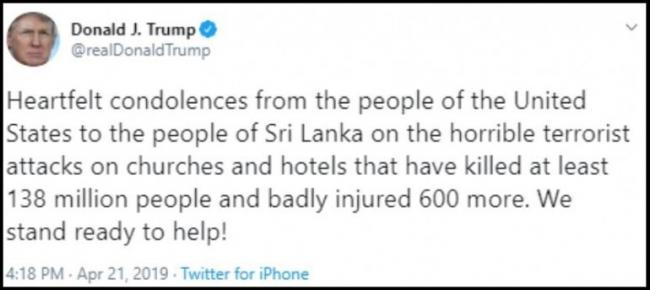 Donald Trump Tweets Million Died In Sri Lanka Blasts - Sakshi