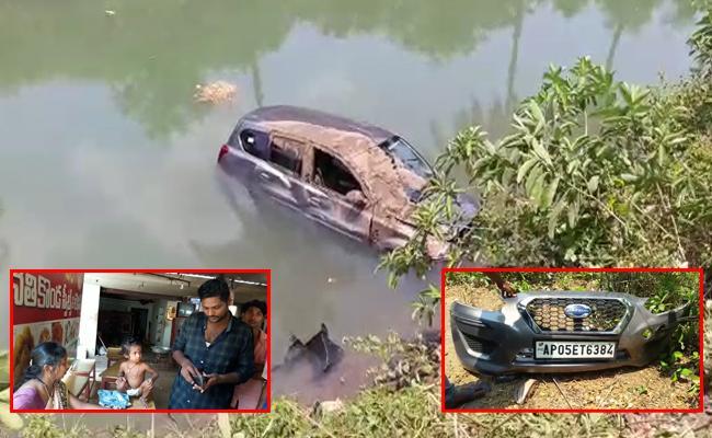 Datsun Car Rams into canal, three saved - Sakshi