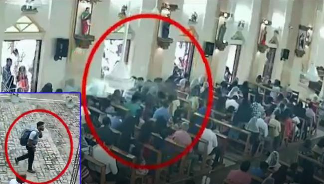 St Sebastian church bomb attack cctv video - Sakshi