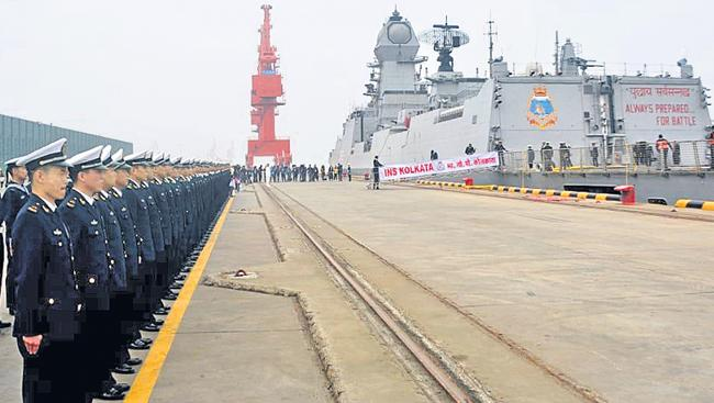Indian Naval Ships Reach China To Participate In Navy Fleet Review - Sakshi