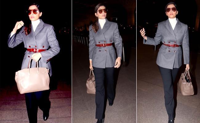 Sonam Kapoor Pairs Her Ultra Glam Airport Look - Sakshi