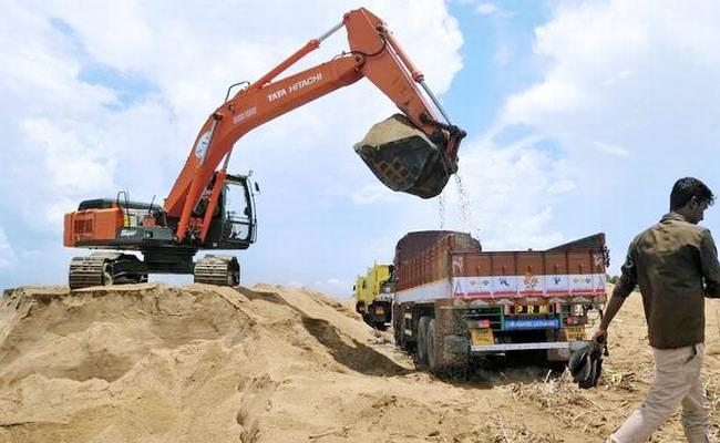 Illegal mining of sand in the Krishna river - Sakshi
