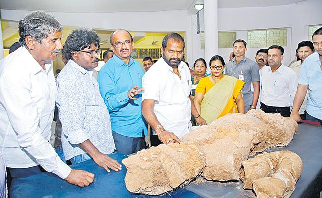 Srinivas Goud examined the Phanigiri Buddha Prathima - Sakshi
